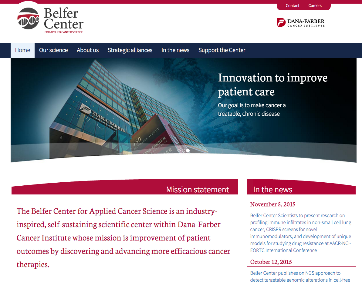 Screenshot of Belfer Center's homepage
