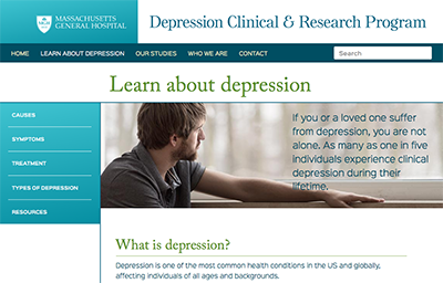 Inside page of MGH Depression Clinical Research Program website