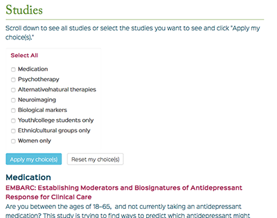 Studies page display options on MGH Depression Clinical Research Program website