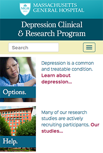 Mobile phone view of MGH Depression Clinical Research Program website