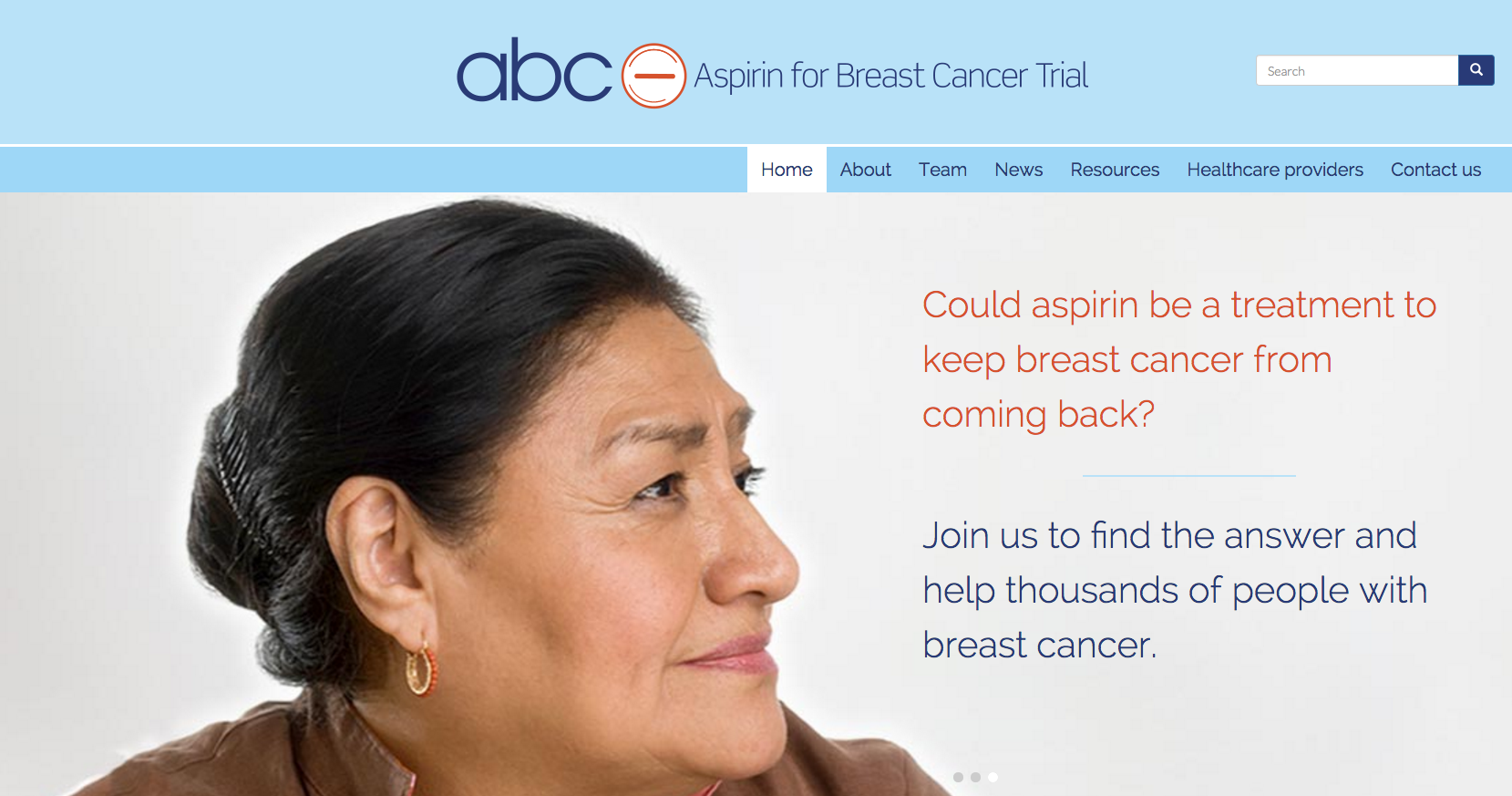 Image of Aspirin for Breast Cancer Trial homepage