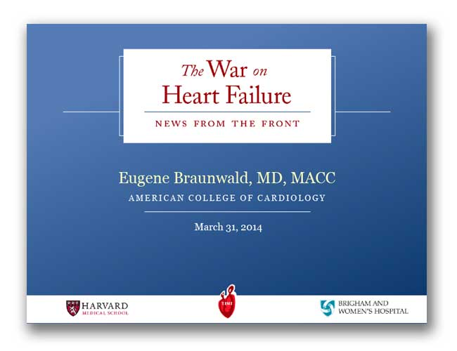 Cover slide of Dr. Eugene Braunwald's inaugural lecture on Future Directions in Cardiovascular Medicine