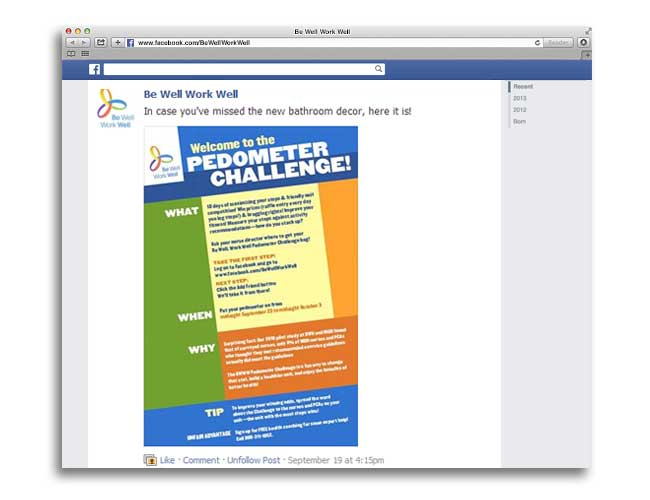 Screenshot of Glorian Sorensen's Be Well Work Well Facebook pedometer challenge