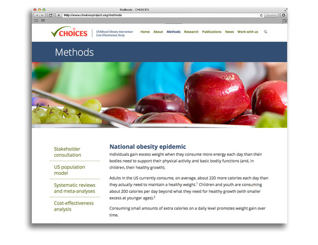Screenshot showing Methods page of CHOICES website