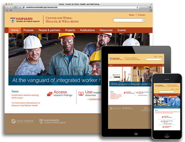 Screen shots of Center for Work, Health, and Well-being website on various devices