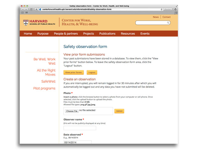 Screen shot of ARM image upload area of the Center for Work, Health, and Well-being website