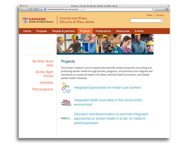 Screen shot of the projects area of the Center for Work, Health, and Well-being website