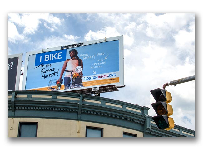 Photo of Let's Get Healthy Boston bike campaign billboard