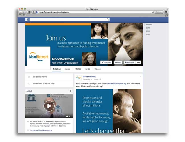 Image of Facebook page for MoodNetwork (PI: Andrew Nierenberg, MD)