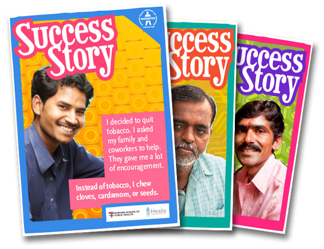 Image showing various posters designed for Dr. Glorian Sorensen's Mumbai tobacco cessation intervention