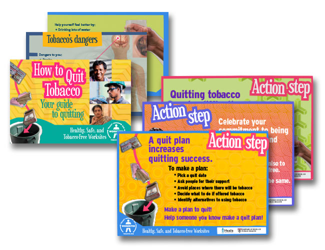 Image showing various cards designed for the Mumbai tobacco cessation intervention