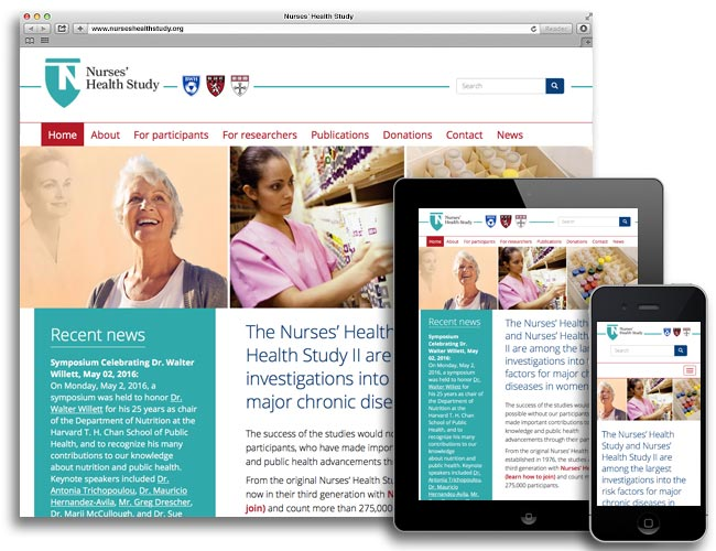 Desktop, tablet, and mobile views of the Nurses' Health Study website homepage