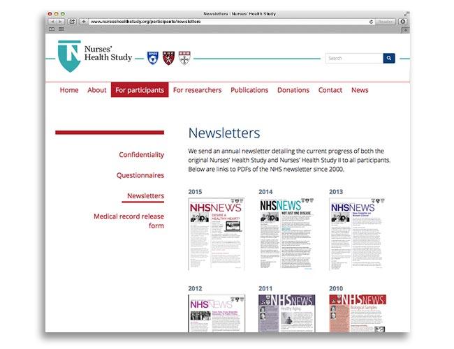 Inside page of the Nurses' Health Study website