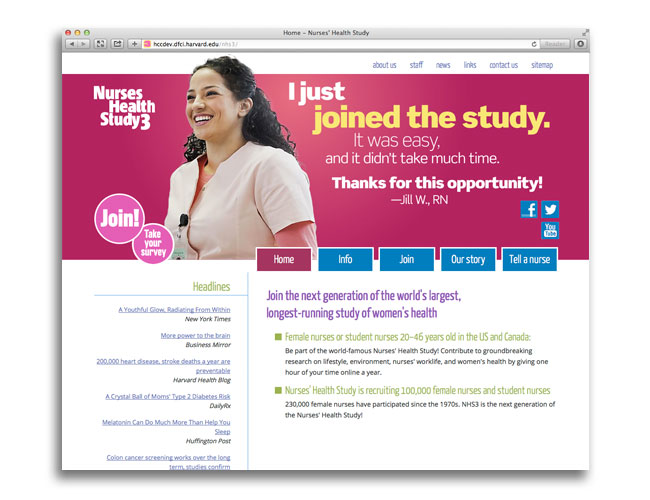 Homepage of the Nurses' Health Study website