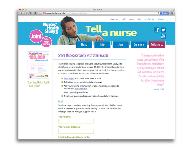 Tell a nurse form on the Nurses' Health Study website