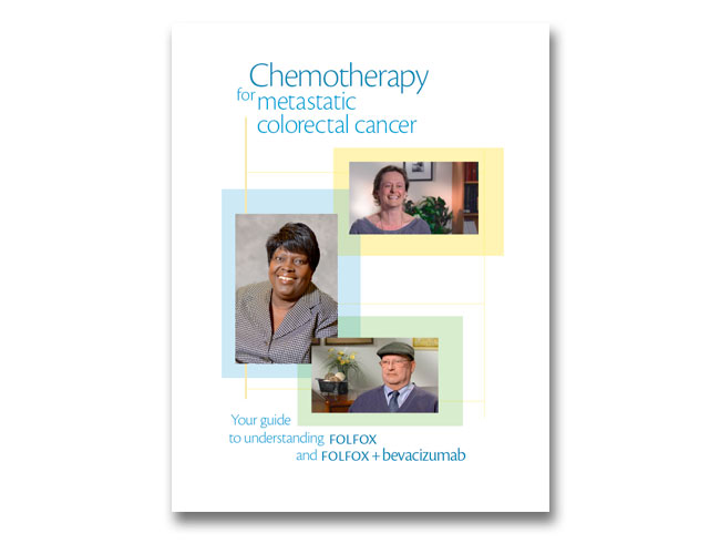 Screenshot showing the cover of the Palliative Chemotherapy FOLFOX booklet (PI: Deborah Schrag, MD)