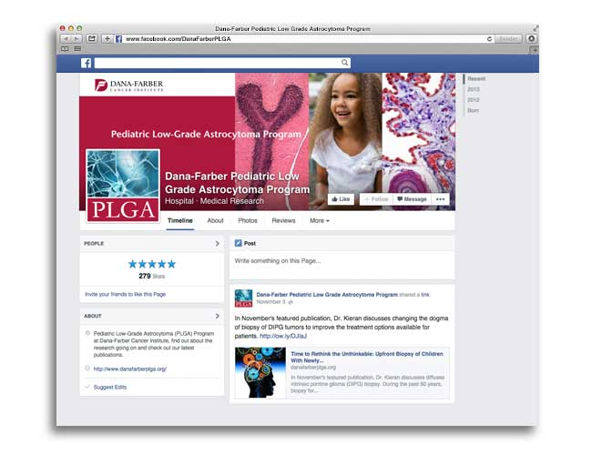 Screenshot of Dana-Farber's Pediatric Low-Grade Astrocytoma (PLGA) Research Program Facebook imagery