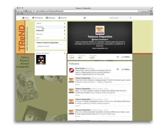 Screenshot of Tobacco Research Network on Disparities' (TReND) Twitter page showing research dissemination