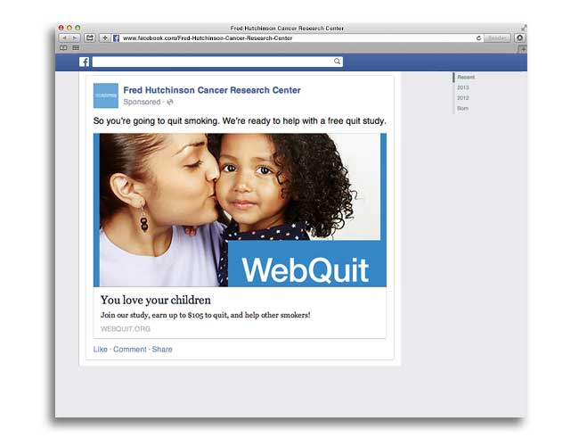 Screenshot of Jonathan Bricker's Facebook ad to recruit research participants