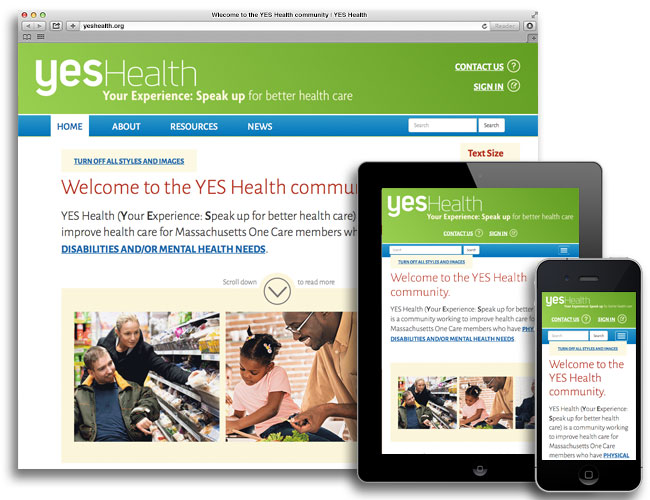 YES Health homepage in desktop, tablet, and mobile views