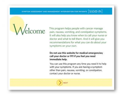 Screenshot of a welcome page for a PCORI project using patient-centered communication services