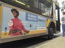 I Bike Boston billboard, a communication campaign to address health disparities