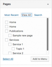 Screenshot of a Wordpress feature