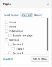 Screenshot of a Wordpress feature