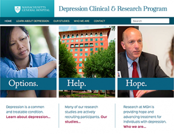Homepage of MGH Depression Clinical Research Program website