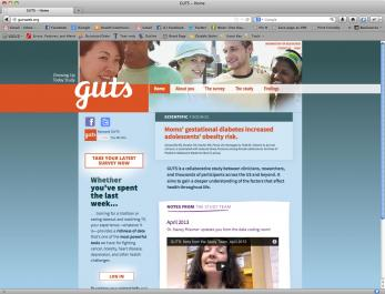 Screen shot of Growing Up Today Study (GUTS) website's homepage