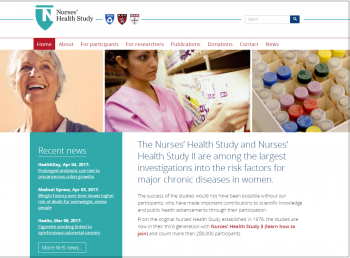 Homepage of new Nurses' Health Studies website that HCC developed