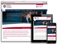 Homepage of the Belfer Center website in desktop, tablet, and mobile sizes